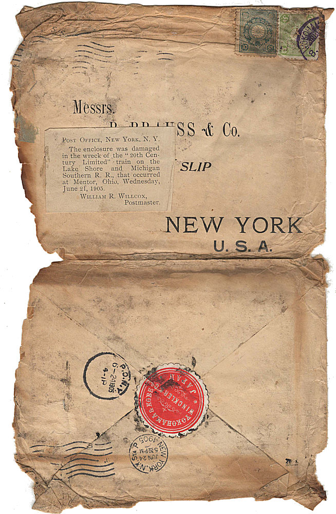 Business mail from Japan to New York that was salvaged from one of the most infamous train wrecks of the 20th century. Winckler, Company.