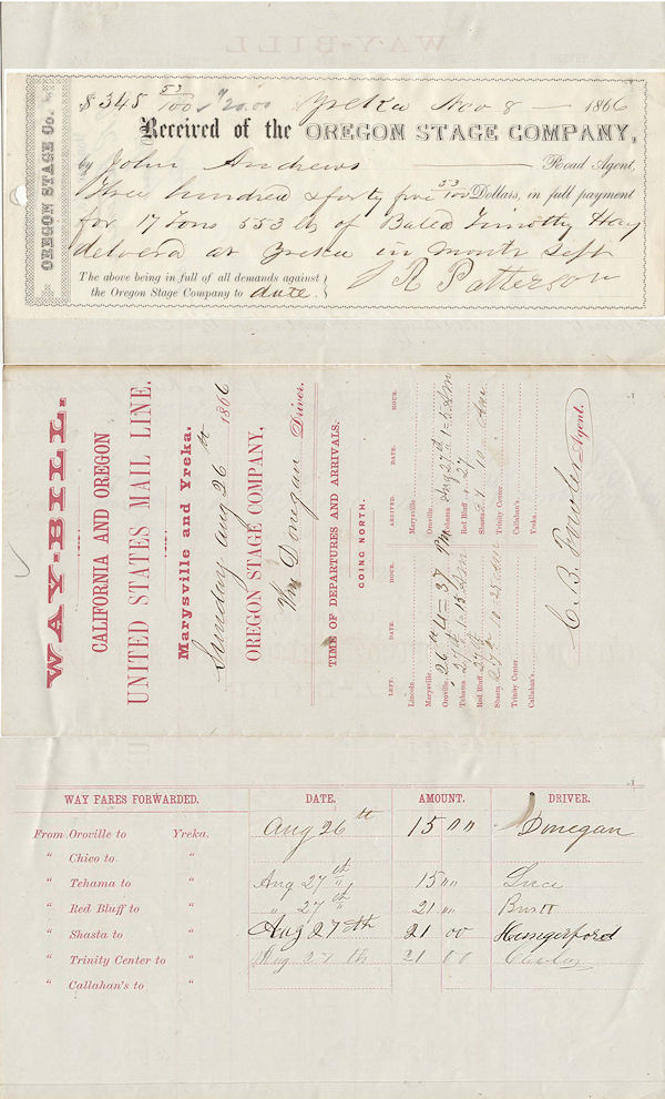 Waybill and receipt from the Oregon State Company (California and Oregon Stage Line)