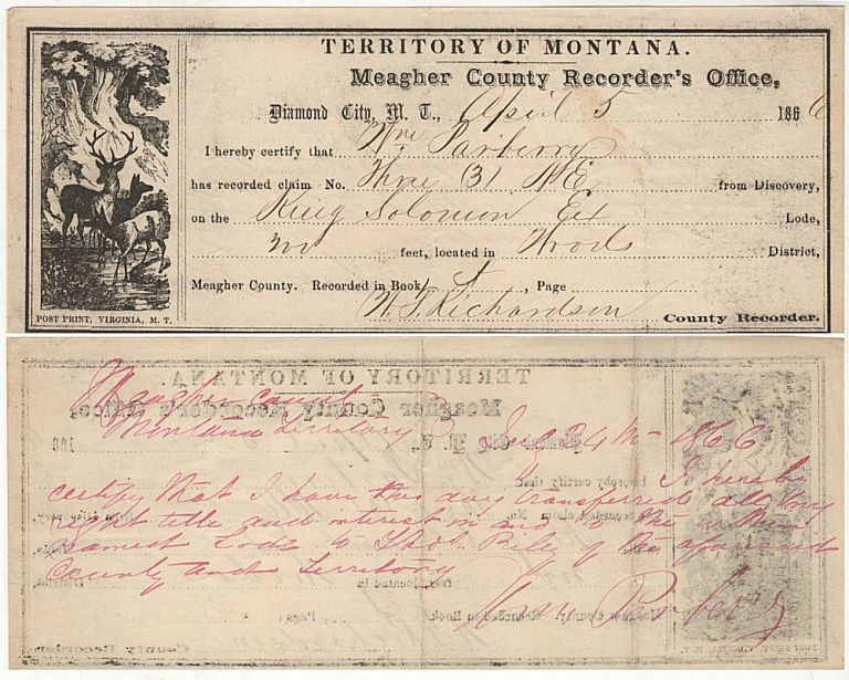 A Montana Territory County Recorder's receipt documenting the filing and subsequent transfer of a mining claim on the King Solomon Lode in Meagher Count. County Recorder N. T. Richardson.