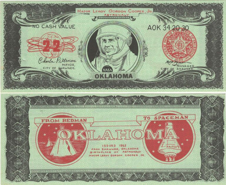 Novelty dollar bill commemorating the Mercury space flight of Leroy Gordon Cooper, one of the first seven U.S. Astronauts. Signed in, Mayor of Shawnee Charlie Pittman, Oklahoma.