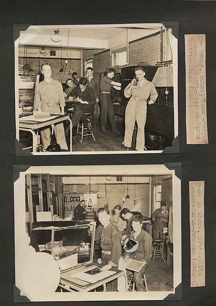 "Photograph album-scrapbook kept by a pre-World War Two combat engineer-photographic technician documenting his training at Fort Belvoir. ""Vic"" Morphonios."