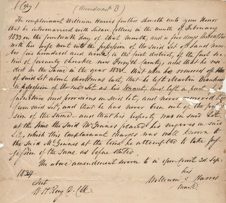 Court document regarding land owned by a mixed Cherokee-white family seized by the State of Georgia for redistribution to white settlers. William Harris.