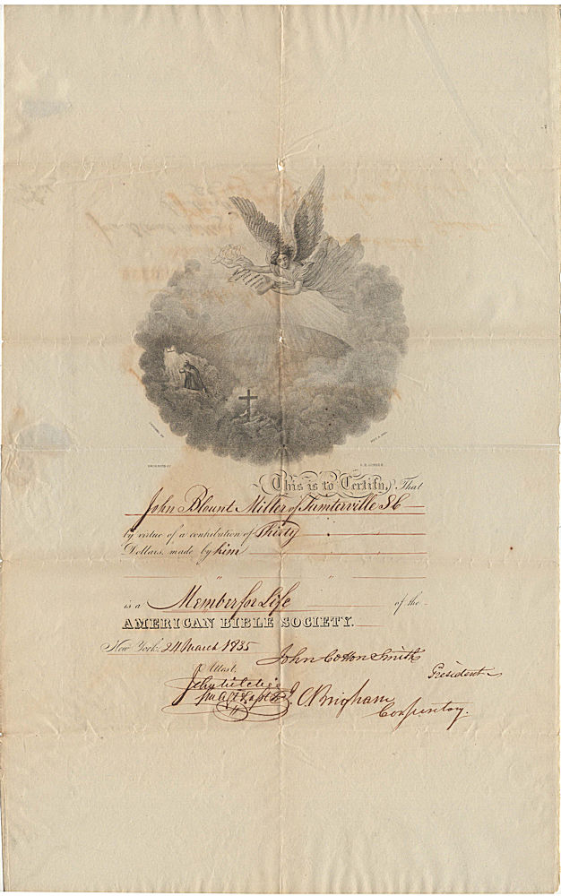 Certificate of Membership in the American Bible Society for John Blount Miller, a slaveholder in Sumterville, South Carolina
