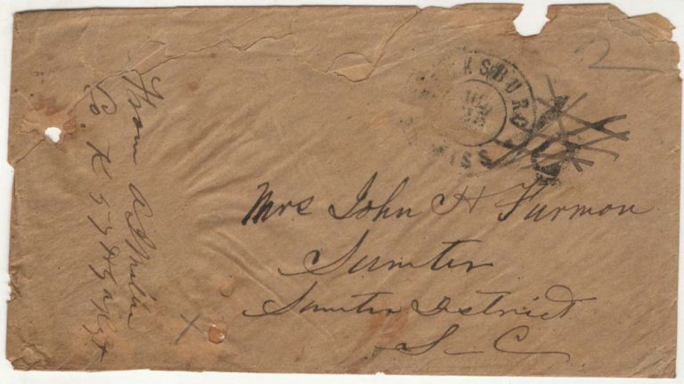 A stampless cover from an officer in the 57th Georgia Infantry Regiment posted at Vicksburg, Mississippi as a parolee after he was wounded and captured during the Battle of Champion Hill (Baker's Creek). Lieutenant A. J. Miller, Andrew Jackson.