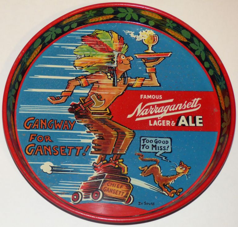 Beer serving tray designed by Dr. Seuss for Narragansett Lager & Ale featuring the colorful, cigar store Indian character, Chief Gansett, he created. Dr. Seuss, Theodor Seuss Geisel.
