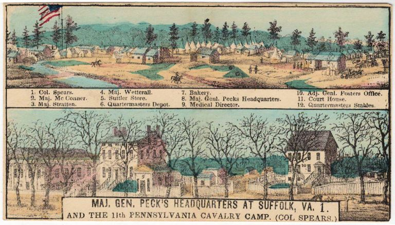 """Patriotic cover with a color illustration of """"Maj. Gen. Peck's Headquarters at Suffolk, Va. 1. and the 11th Pennsylvania Cavalry Camp (Col Spears.)"""". Charles Magnus."""