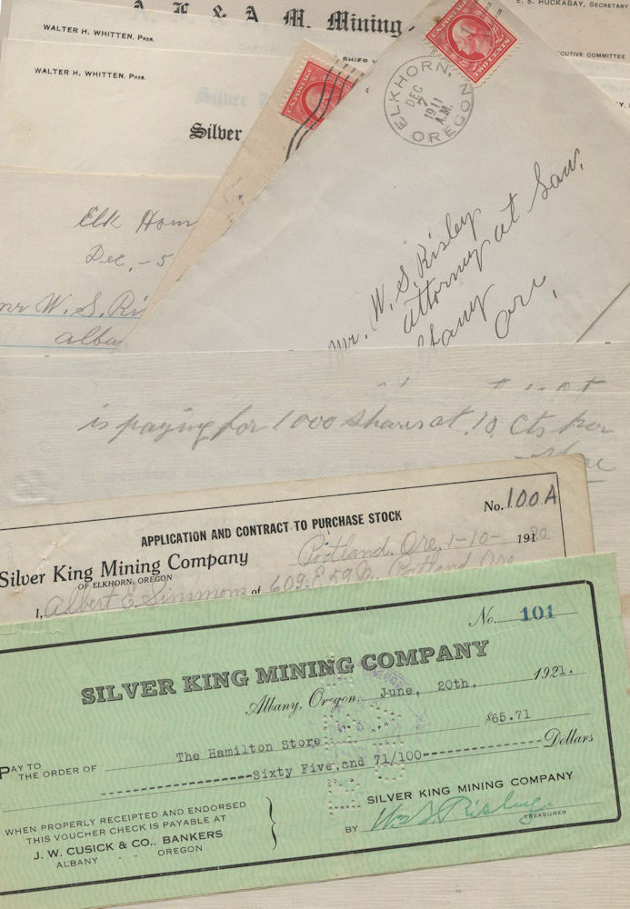 Small archive of materials related to the Silver King Mine. to By, Oregon, or for Mr. W. S. Risley of Albany.