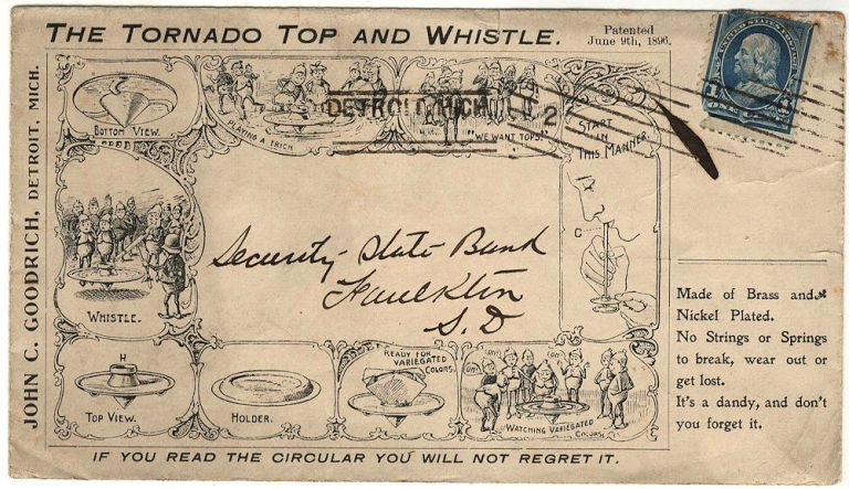 All-over illustrated advertising cover for The Tornado Top and Whistle featuring Palmer Cox's Brownies. Palmer Cox.