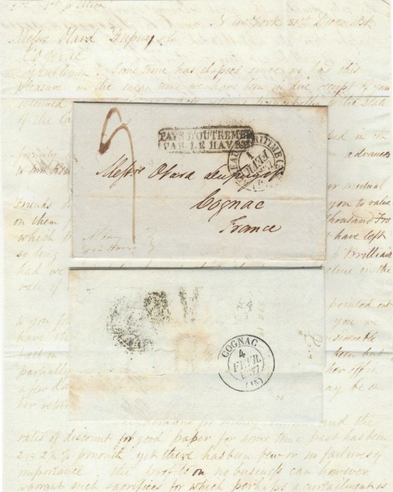 Letter from Ebenezer Stevens & Sons, a New York firm, to Messrs Otard Dupuy, one of the most important Cognac producers in France. Ebr Stevens, Sons.