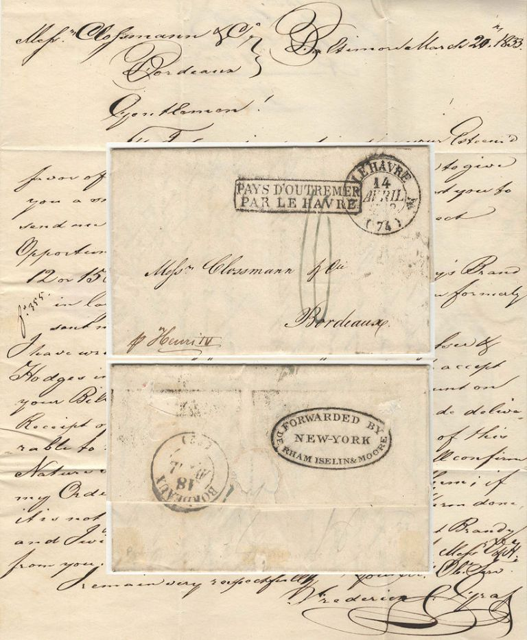 Letter from Frederic de Graft, a Baltimor Merchant, to Mess. Clossmann, a wine merchant in Bordeaux. Fredric de Graft.