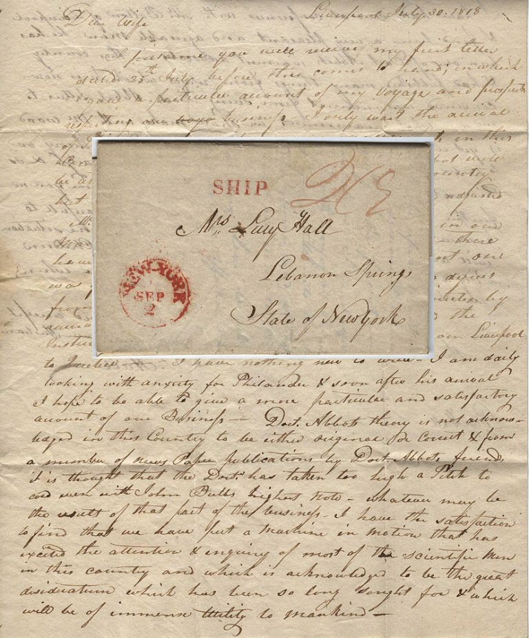 Letter from an American in Liverpool describing his efforts to prevent an Englishman from stealing credit for inventing a longitude measuring device based on a theory by a prominent Georgia physician, Doctor Joel Abbott. Dr. J. Hall.