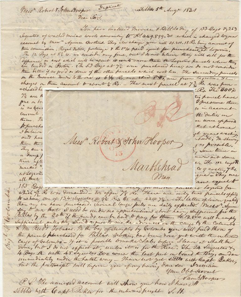 Letter from a Marblehead, Massachusetts merchant in Spain informing his family at home of the opportunity to import inexpensive year-old Merino wool and make it appear to be fresh and of high quality. Samuel Hooper to Robert, John Hooper.