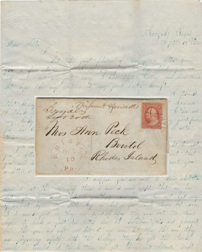 Letter from the son of a Texas pioneer sent to a sister in Rhode Island which includes information about the construction of Gonzales College, franked with a scarce 3-cent Washington stamp (Scott #10A). Wm D. H. Peck.