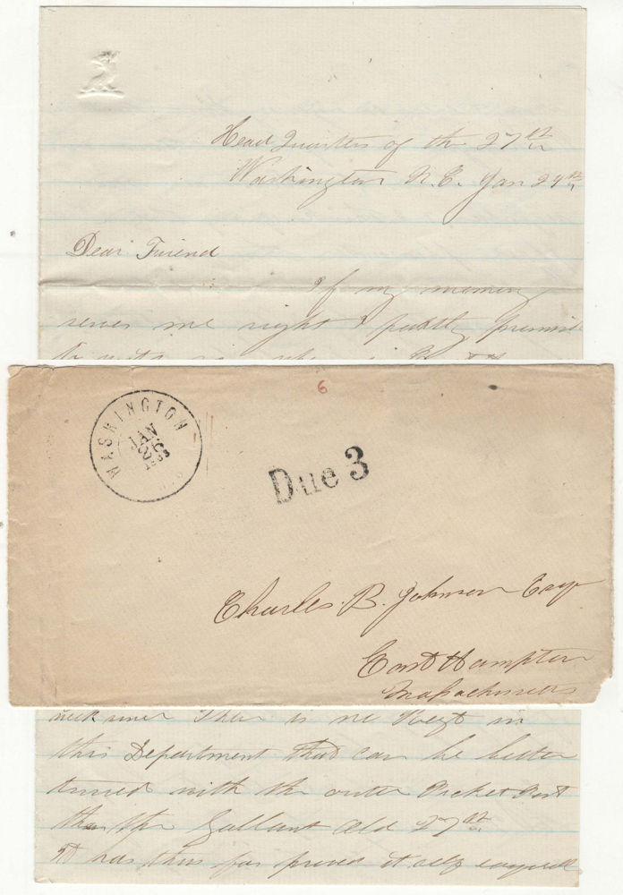 Letter from a Lieutenant in the 27th Massachusetts Infantry while encamped at Washington, North Carolina, which includes an assessment of the 1st North Carolina Colored Volunteers. Lieutenant J. H. Judd.