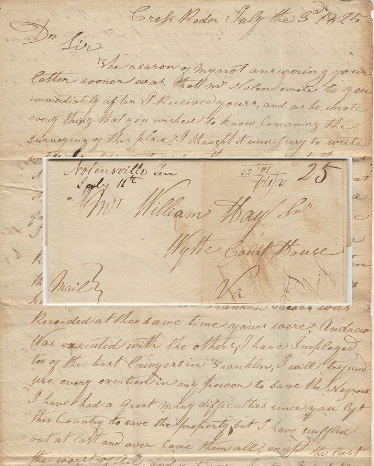 Two-page letter from a Virginian, temporarily residing in Tennessee, to his lawyer about lawsuits regarding family lands in Tennessee. Joesph McGavock.