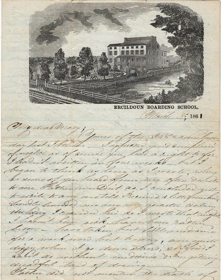 Letter from a young woman on illustrated stationery from the Ercildoun Boarding School for Girls. Unidentified author.