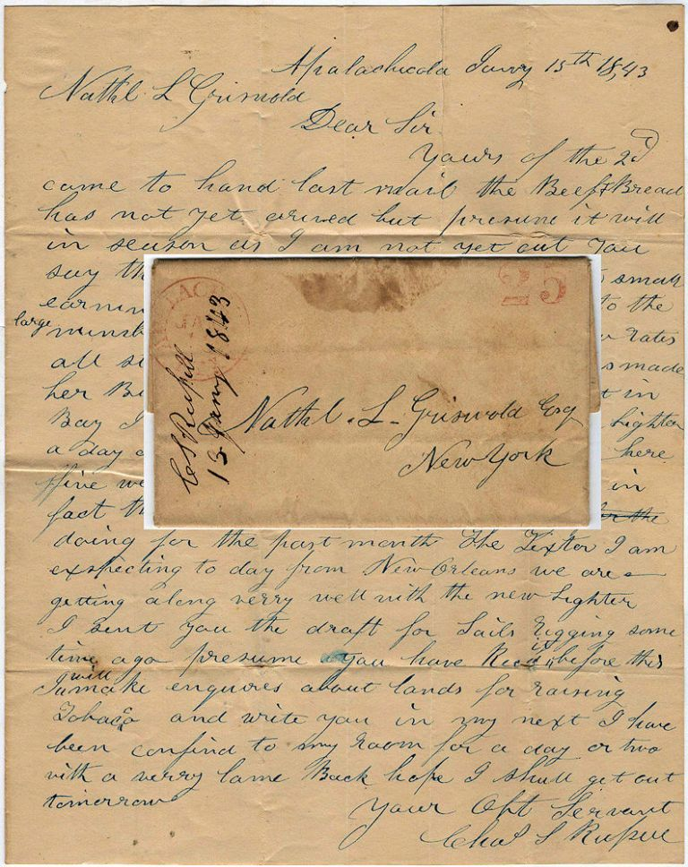 Letter from a lighter captain at the port of Apalachicola to his ship's owner in New York explaining why earnings had been meager. Charles L. Russell.