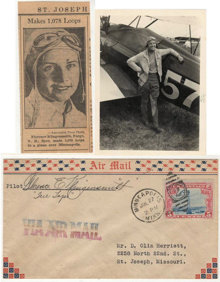 """Small grouping of three items related to the famed American aviatrix Florence E. """"Tree Tops"""" Klingensmith and her record setting 1,078 loop flight at the Wold-Chamberlain Airfield in Minneapolis on June 22, 1931. Florence E. Klingensmith."""