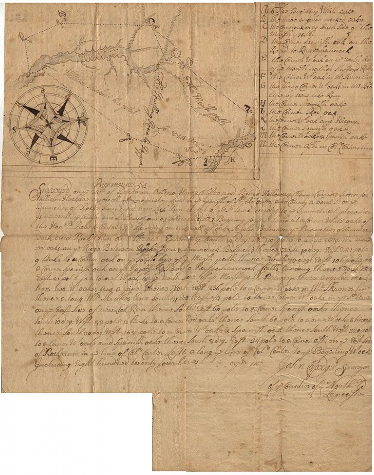 """Colonial surveyor's plat for land owned by William Hackney in """"Richmound"""" i.e., Richmond County, Virginia. Surveyer John Coppedge."""