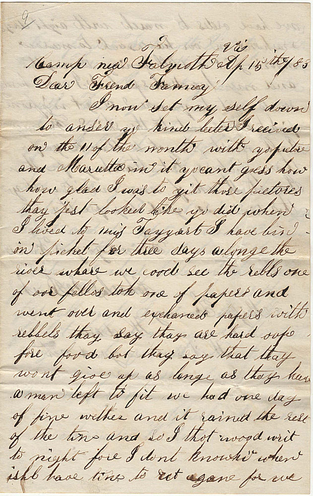 Soldier's letter from a camp near Falmouth, Virginia thanking to sisters for their photographs, mentioning completion of picket duty, and reporting he has been sick since the Battle of Fredericksburg. Charles E. Bush.