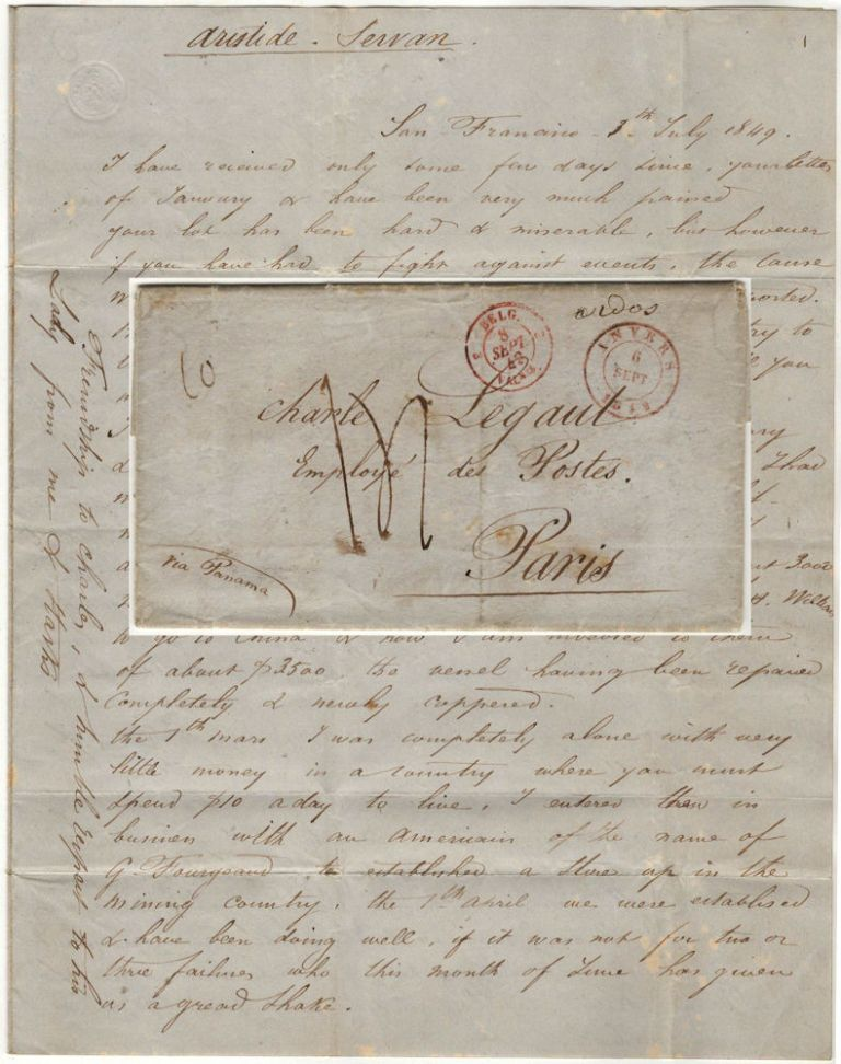 Letter from a French ship captain to his lover in Paris explaining that he had chartered his ship for the China trade and established himself as a merchant in Stockton during the first few months of the California Gold Rush. Sender's signature appears to read V. Havres.