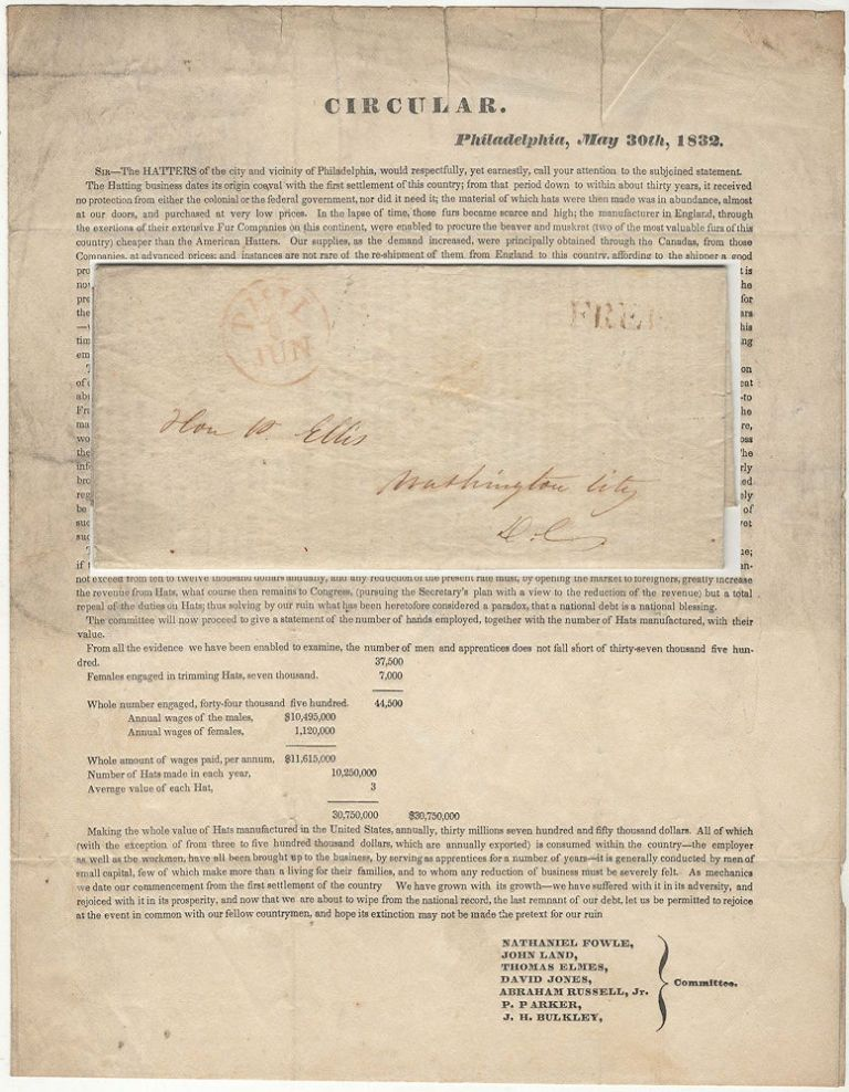 Circular printed and sent to Congress by the Hatters of Philadelphia in support of passing the Protectionist Tariff of 1832. John Lnad Natieniel Fowle, et. al.