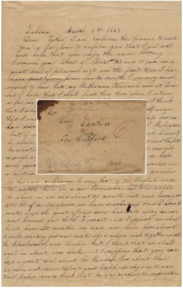 A detailed whaling letter wherein an African-American whaleman does not mince words about his feelings for his captain, Hawaiians, and missionaries. Frank Lawton.