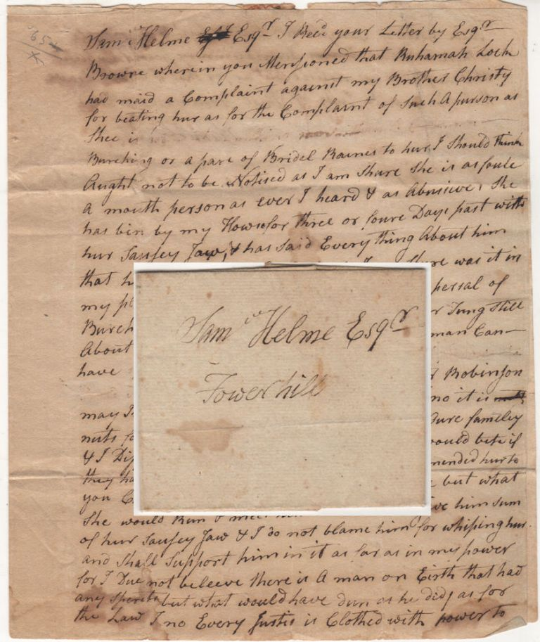 """An astonishing (by today's standards) 18th century letter from the Deputy Governor of Rhode Island regarding the whipping of a """"sausey jawed"""" woman. Samuel John Potter."""