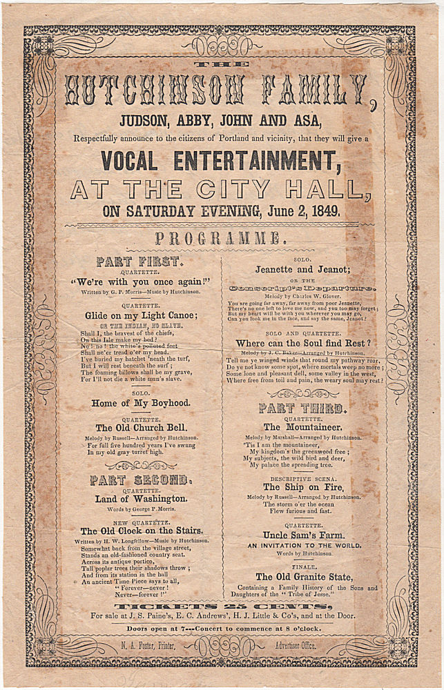 Broadside announcing a concert by the Hutchinson Family, founders of both popular and protest music in the United States