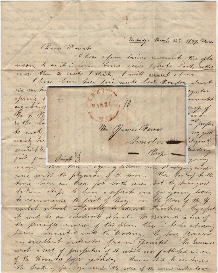 Letter home from a student describing his life and studies at the Uxbridge Academy and plans for establishing a female high school later in the year. George Farrar.