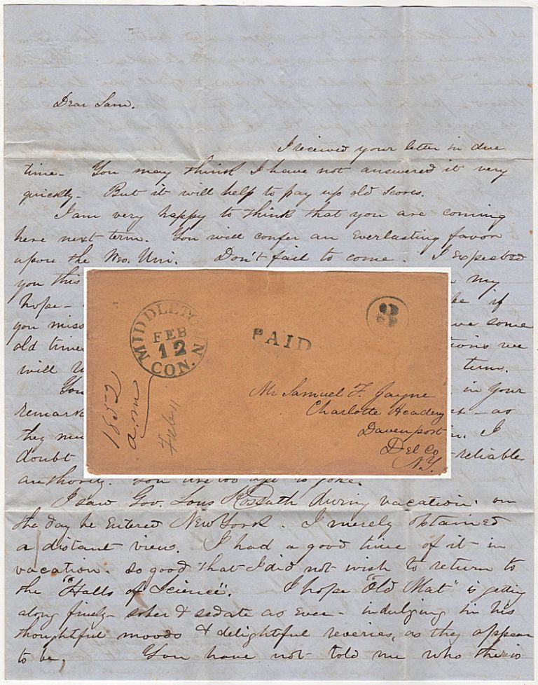 Letter from a student at Wesleyan University to a friend attending Charlotte Academy describing admission requirements and encouraging him to attend Wesleyan the following term. A. Merwin.