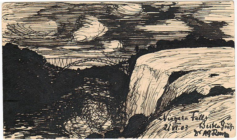 A black and white ink drawing of Niagara Falls on a postal card that was sent to Germany. but illegible Signed.
