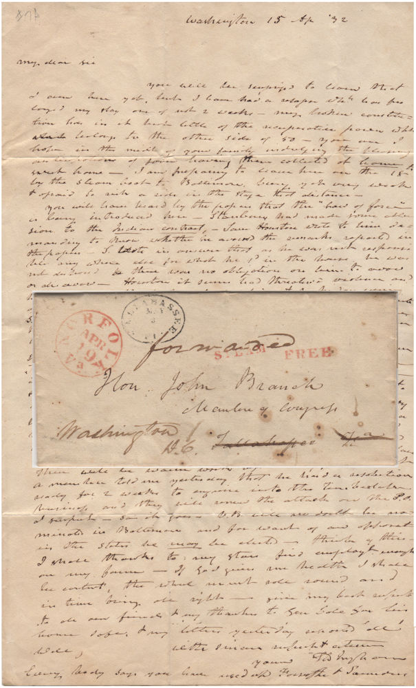 An autograph letter signed by Samuel D. Ingham to John Branch about Sam Houston's bludgeoning of an anti-Jackson Congressman. Samuel D. Ingham.