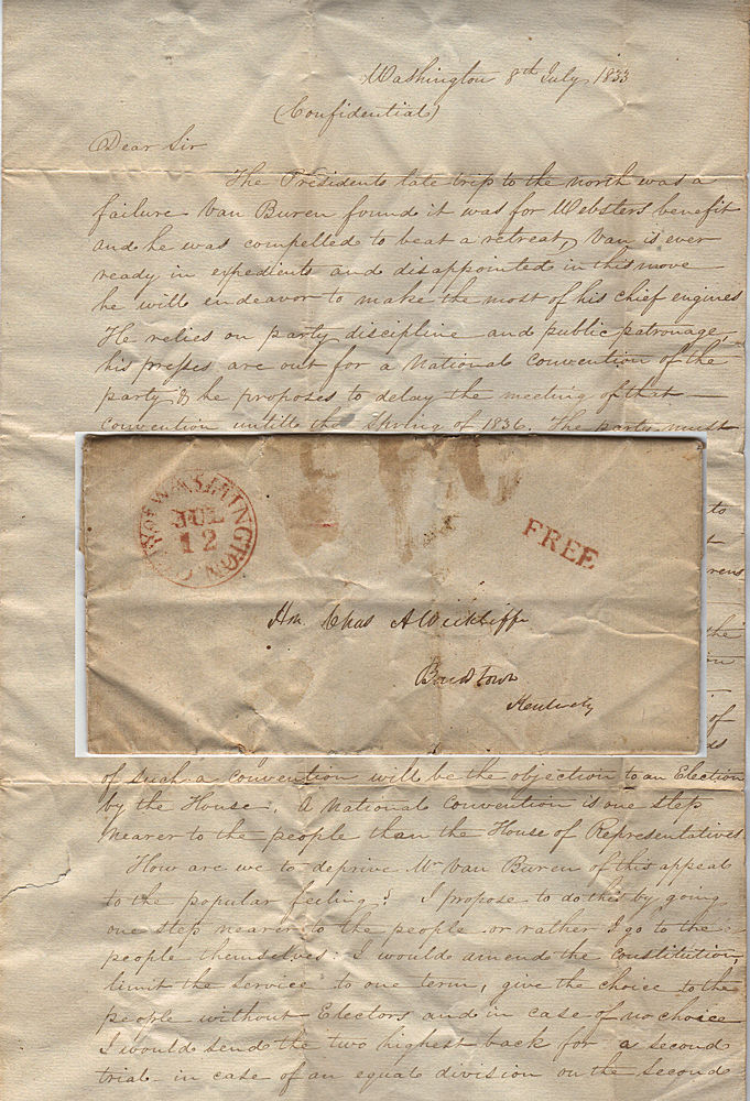 An autograph letter signed by Duff Green, a former President Jackson loyalist who had abandoned him in favor of John C. Calhoun, to Charles A Wickliffe, an influential Whig Congressman from Kentucky. Duff Green.