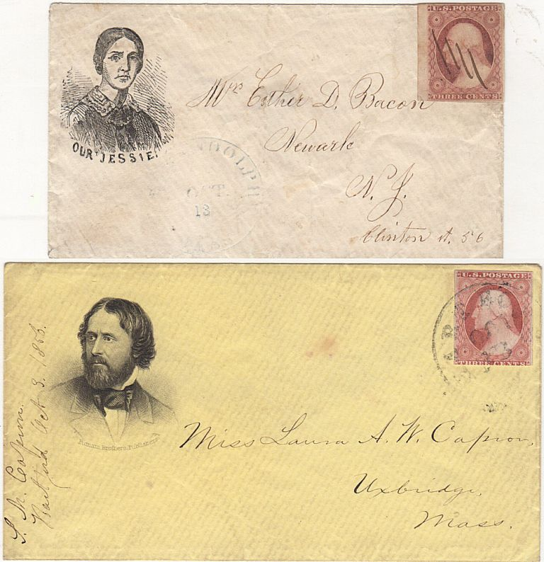 Two campaign advertising envelopes promoting the candidacy of the first Republican to run for President; one cover showing John Fremont and the second showing his wife, Jessie