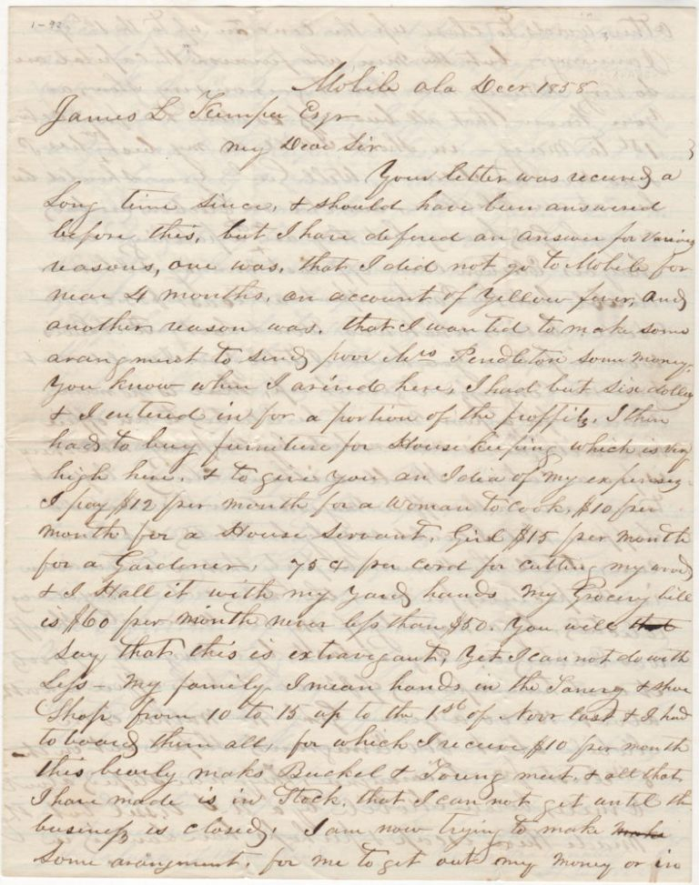 A fascinating letter from a recent arrival describing life in Mobile including a report on the Filibuster William Walker attempt to conquer Nicaragua. H. Carver to James l. Kemper.