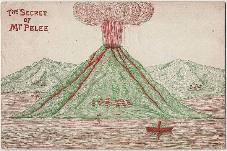 Large, lift-the-flap, insensitive, steam boiler advertising postcard card featuring the devasting Mt. Pelee volcanic eruption destroyed an entire city, killing 30,000 people