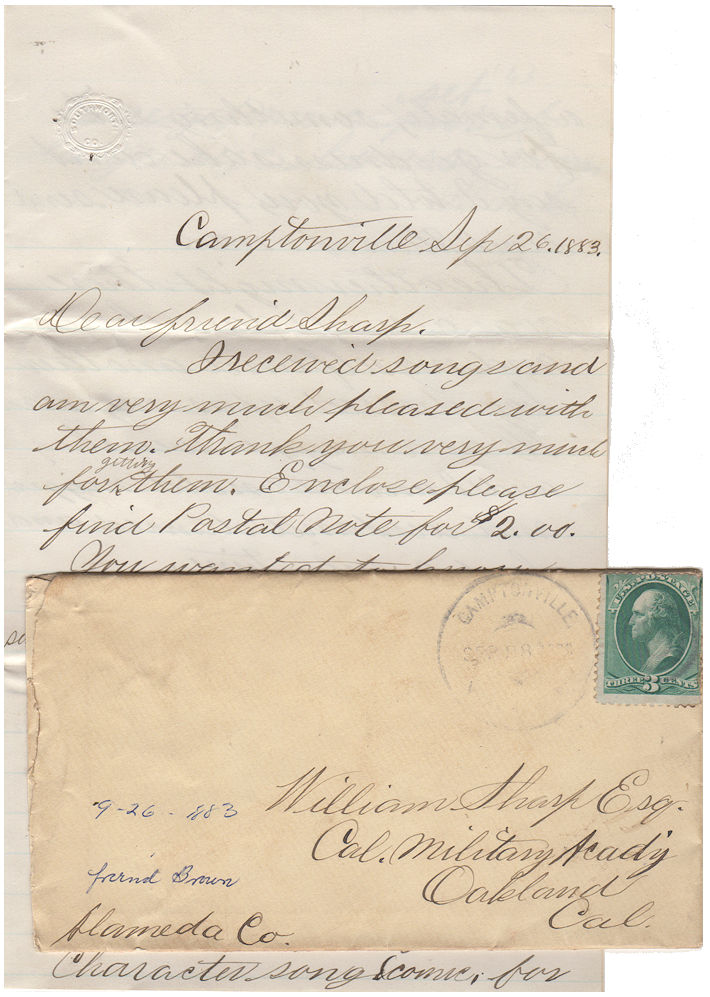 "Letter from a young man in a small California timber town to a friend in Oakland about attending a dance dressed as a ""nigger wench"" and obtaining sheet music and ""bones"" for an amateur minstrel show. W. M. Brown."