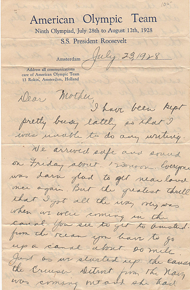 "Letter from Joseph ""Joe"" Farley, a member of the U.S. water polo team, to his mother written aboard the S.S. President Roosevelt while in the Amsterdam harbor during the 1928 Olympic Games. Joe, Joseph Farley."