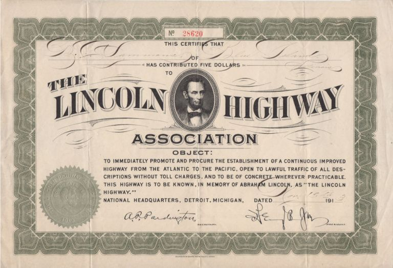 Donation certificate from The Lincoln Highway Association. To B. C. Sammons, Benjamin Chester.