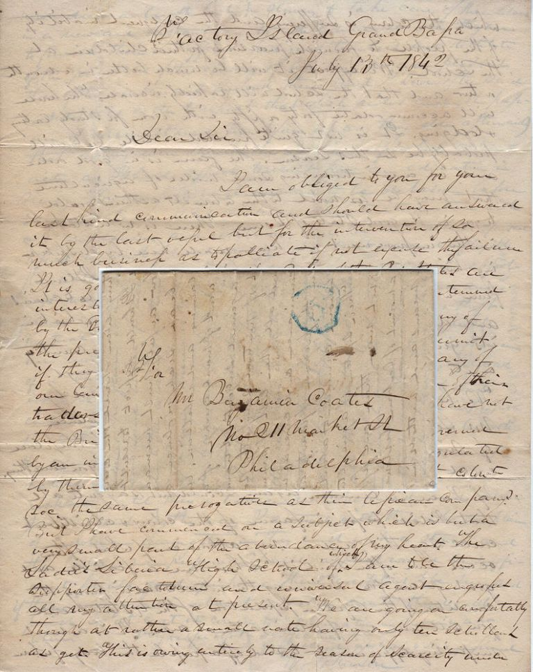 Letter from Dr. Wesley Johnson, the former governor of the Grand Bassa Colony in Liberia to Benjamin Coates, Vice-President of the Pennsylvania Abolition Society and an active supporter of the American Colonization Society, regarding the status of the colony in general as well as details about educational and agricultural initiatives. Dr. Wesley Johnson.