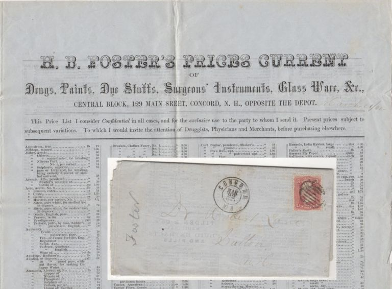 """Large, mail-order bifold broadsheet, """"H. B. Foster's Price Guide"""", advertising a huge stock of drugs, surgical instruments, patent medicines, perfumes, dyes, glassware, hardware and more. H. B. Foster."""