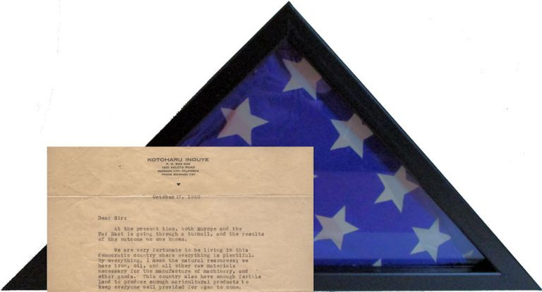 A flag and letter presented to an official or journalist by a California Issei who would later be arrested and incarcerated by the FBI on December 7, 1941. Kobotru Inouye.