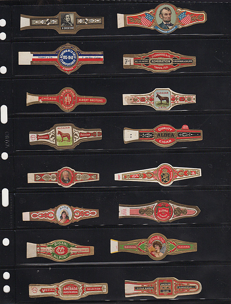 Mid-20th century collection of cigar bands, many from Cuba. Richard Downes.