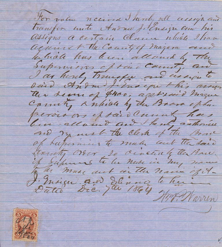 """Civil War documents related to the compensation of a Union officer who returned home to raise two companies for the 2nd New York Mounted Rifles (also known as the """"Governor's Guard"""") after being discharged for wounds suffered at the Battle of Cedar Mountain in Virginia. William P. Warren."""