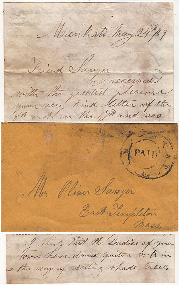 Letter from a farmer in Minnesota discussing the Treaty of 1859 and the possibility of obtaining more land from the Ho-Chunk (Winnebago) Tribe for white settlement in and around Mankato. G. T. Boynton, George.