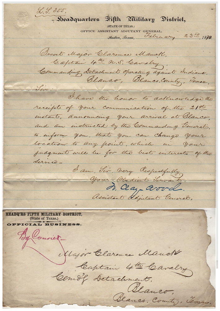 """Three sets of manuscript orders related to a Texas campaign by the 4th Cavalry Regiment """"Operating Against Indians"""". To Brevet Major Clarence Mauck."""