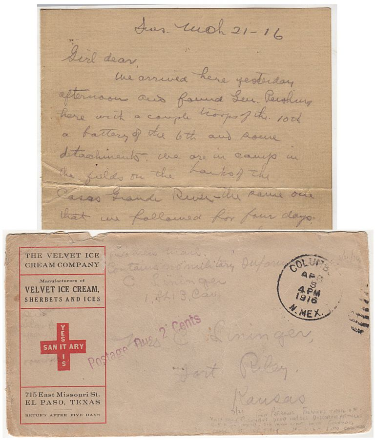 """Four rare """"pioneer airmail"""" letters sent by an officer assigned to the 13th U.S. Cavalry Regiment during the General Pershing's Pancho Villa Punitive Expedition from within Mexico to his wife at Fort Riley, Kansas. Lieut. C. Lininger, Clarence."""
