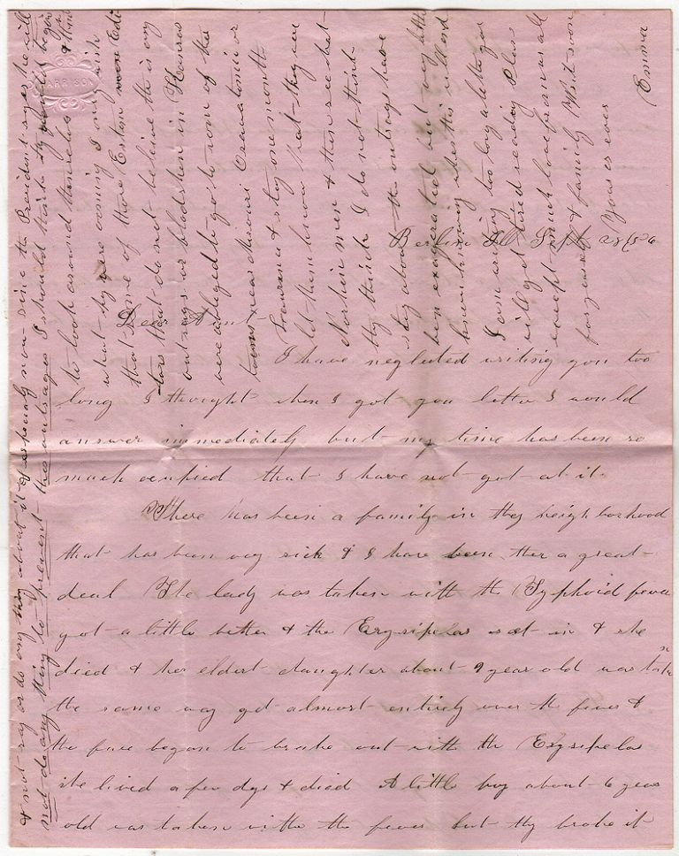 """Long and detailed letter from a woman, who had recently left the Kansas Territory, describing the violence between """"Free Staters"""" and """"Border Ruffians"""" including the Sack of Lawrence and the Battle of Osawatomie. Emma."""
