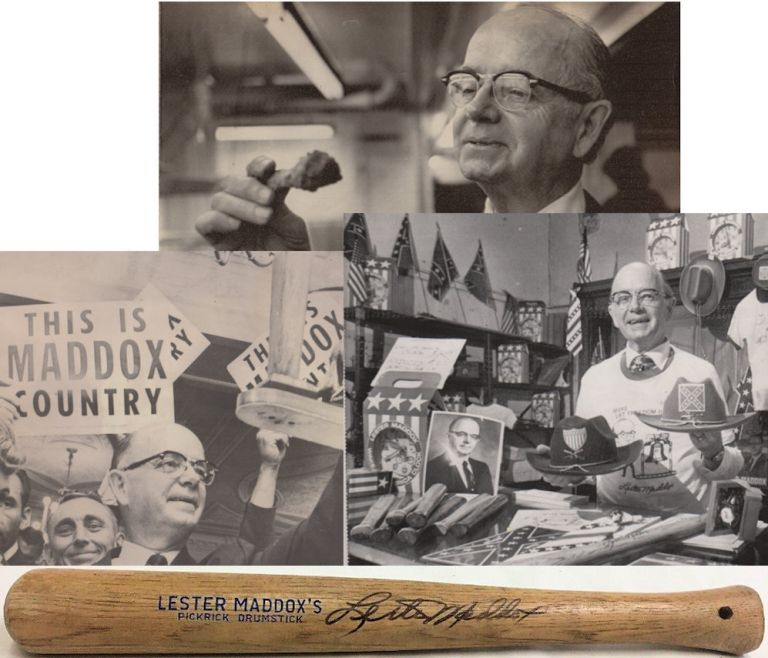 Small group of items relating to Lester Maddox, his Pickrick Restaurant, Underground Atlanta, and the Democratic Party. Lester Maddox.
